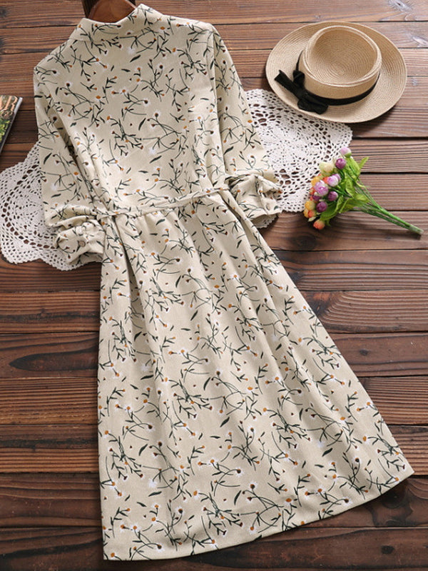 Floral Drawstring Waist Corduroy Dress