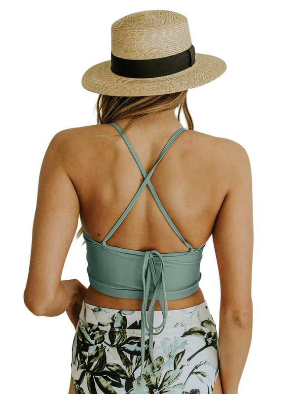 Straps Flowers Leaves Print Solid High Waist Tie Up Tankini Swimsuit