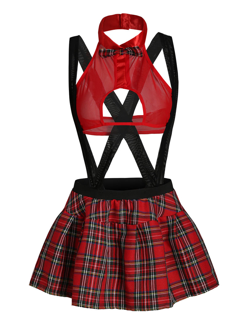 Bowknot Plaid School Girl Lingerie Costume