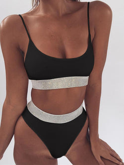 Straps High Waist Solid Sequins Bikini Set