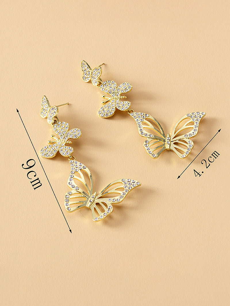 One Pair Butterfly Charm Boho Drop Earrings