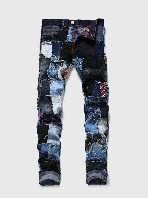 Men's Patchwork Slim Fit Jeans