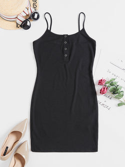 WELOOC Solid Color Bodycon Cami Dress