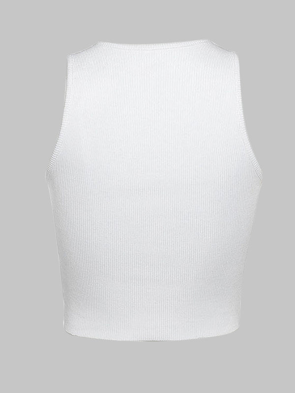Solid Pinned Raw Crop Tank Tops