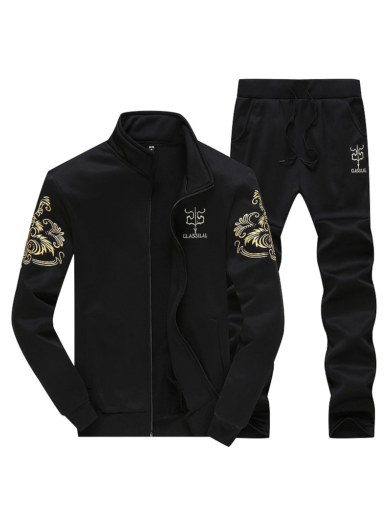 Men Tracksuit Set Fleece Jacket Pants Men Set