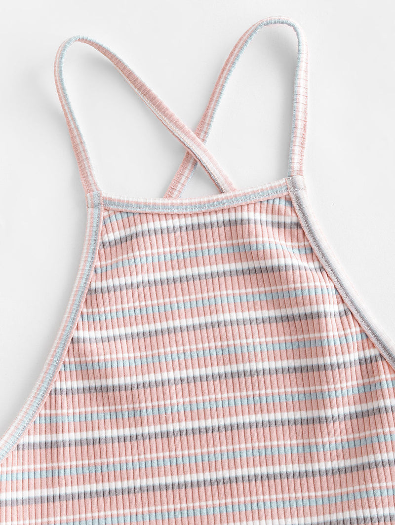 WELOOC Criss Cross Ribbed Stripes Cami Top