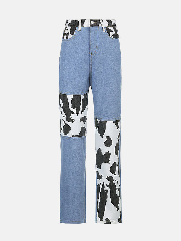 Cow Pattern Color Block Mom Jeans