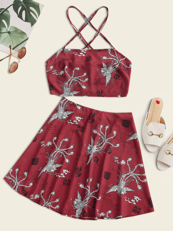 Criss Cross Phoenix Print Oriental Mini Skirt Set