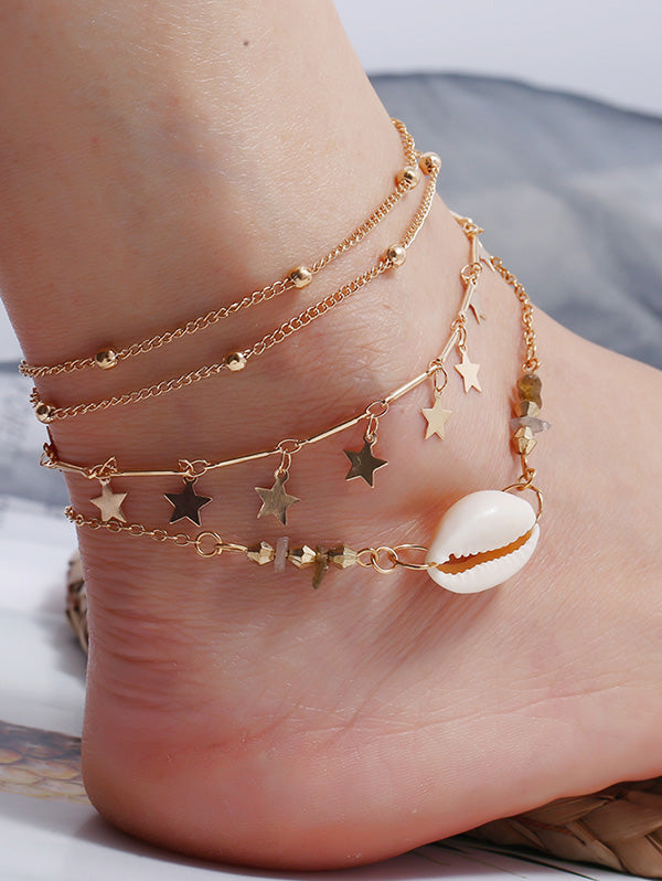 3Pcs Star Shell Layers Charm Anklet Set