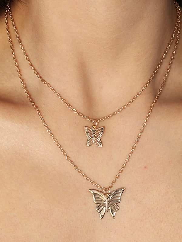 Hollow Butterfly Layered Necklace