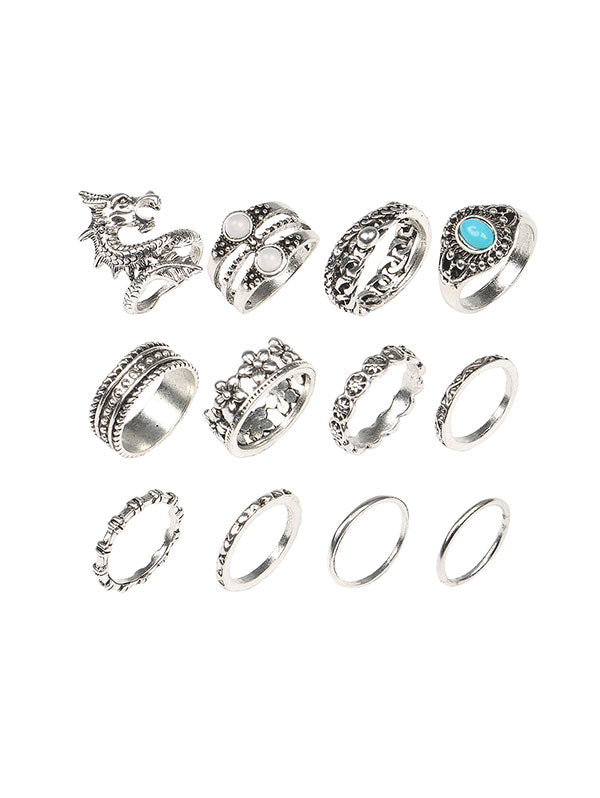 12 Piece Dragon Floral Faux Turquoise Finger Rings Set