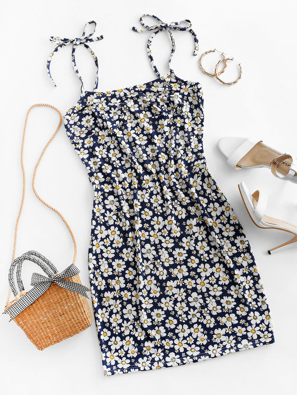 Tie Floral Bodycon Dress