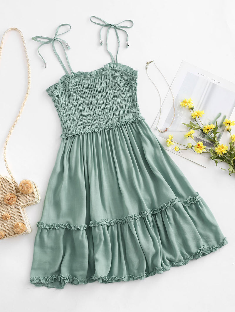 Smocked Tie Shoulder Lettuce Trim Mini Dress