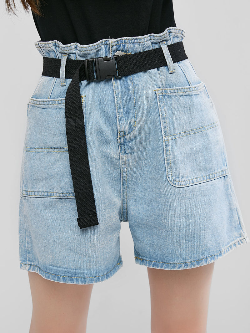 Denim Push Buckle Belted Paperbag Shorts