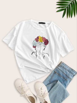 Flower Girl Print Short Sleeve T-shirt