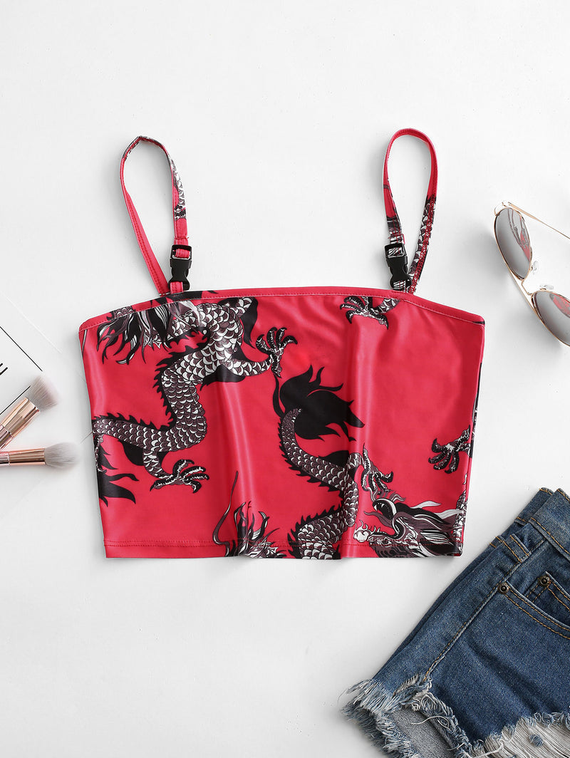 Dragon Print Push Buckle Oriental Crop Cami Top