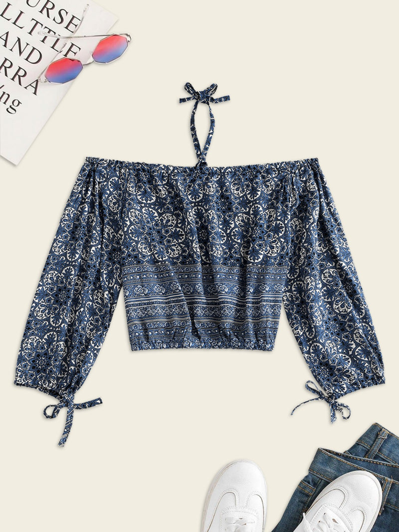 Halter Printed Cold Shoulder Blouse