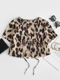 Leopard Print Tied Crop Blouse