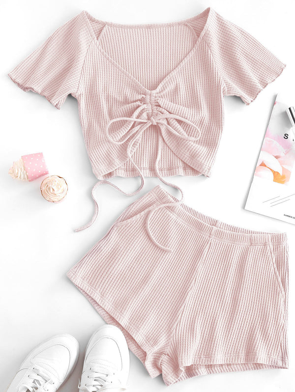 Textured Cinched Raglan Sleeve Loose Shorts Set