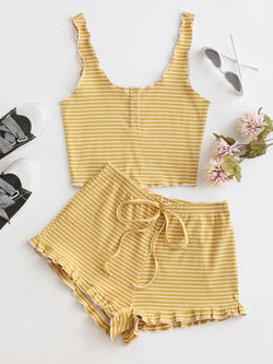 Ribbed Striped Snap Button Ruffle Shorts Set