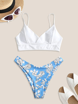 WELOOC Lace Up Back Floral High Cut Bikini Swimsuit