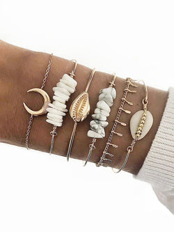 6Pcs Crescent Shell Bracelet Set