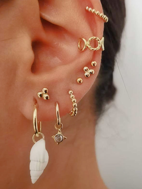 Conch Beads Stud And Ear Cuff Earring Set