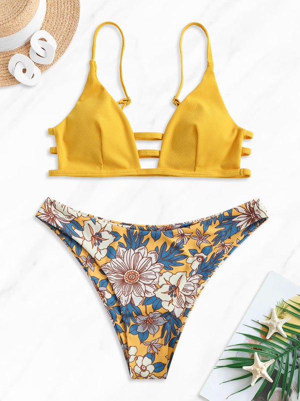 WELOOC Strappy Floral Ribbed Bikini Set