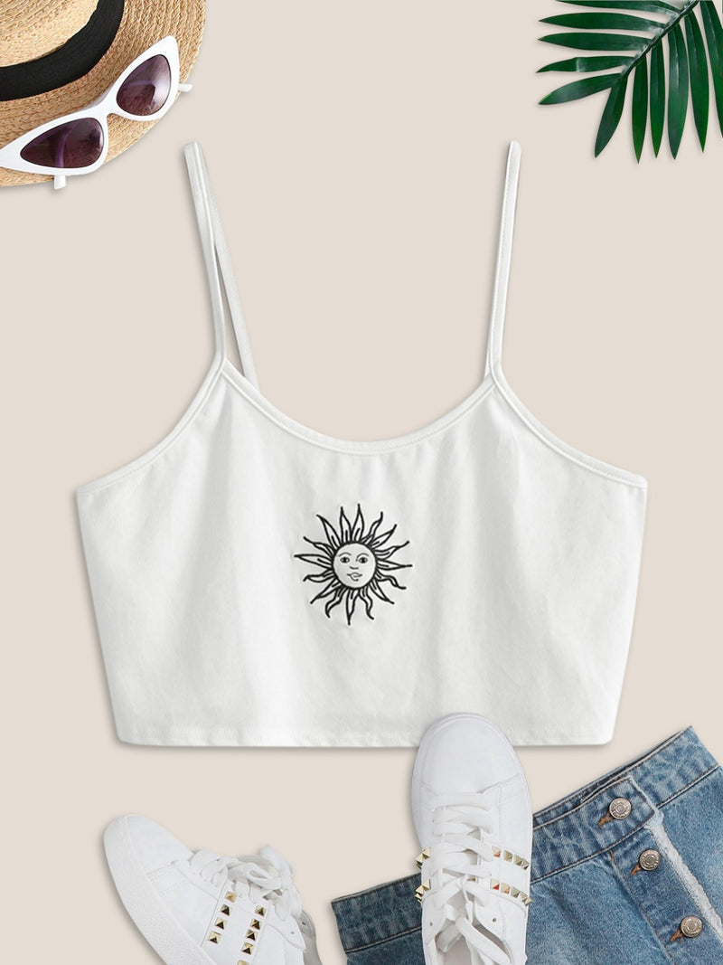 Sun Embroidered Crop Cami Top