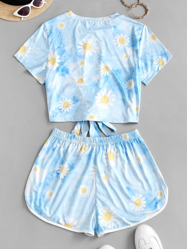 Flower Cloud Tie Dye Knot Two Piece Set