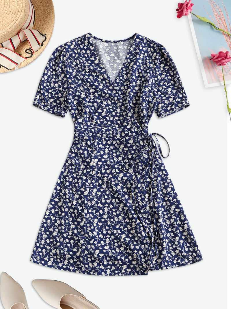 Tiny Floral Wrap Mini Dress