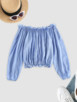 Ruffles Off Shoulder Cropped Blouse