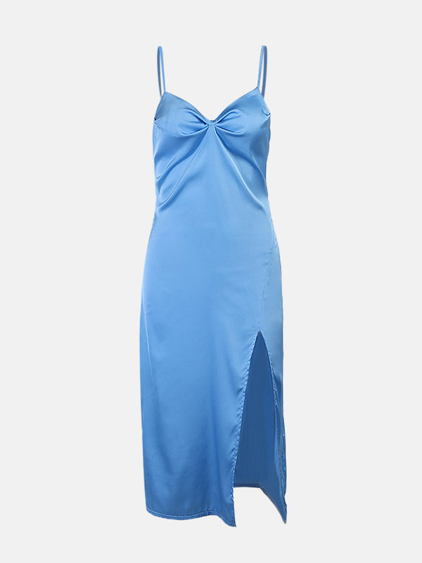 Satin Criss Cross Midi Dress