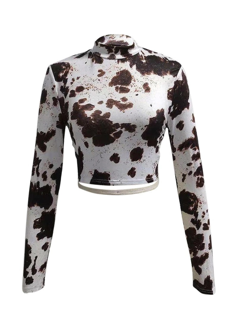 Cows Pattern Backless Lace-up Top