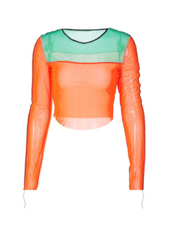 Lettuce Trim Color Block Crop Top