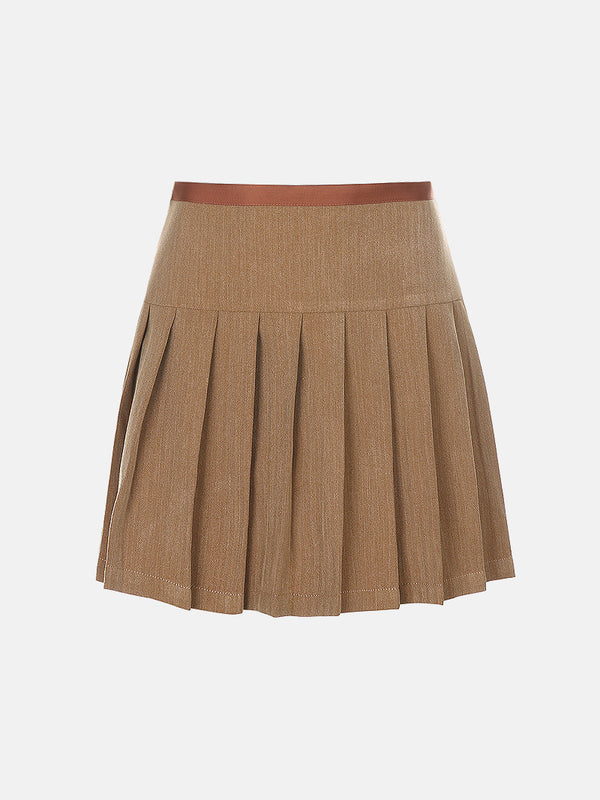 Back Lace Up Pleated Skirt