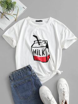 Milk Graphic Short Sleeve T-shirt