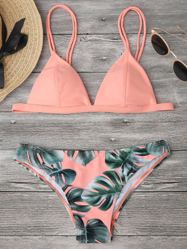 Straps High Waist Solid Leaves Print Backless Bikini Set