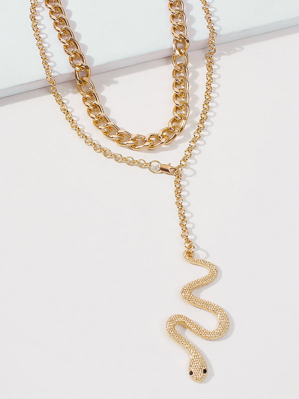 2pcs Gold Snake Charm Necklace