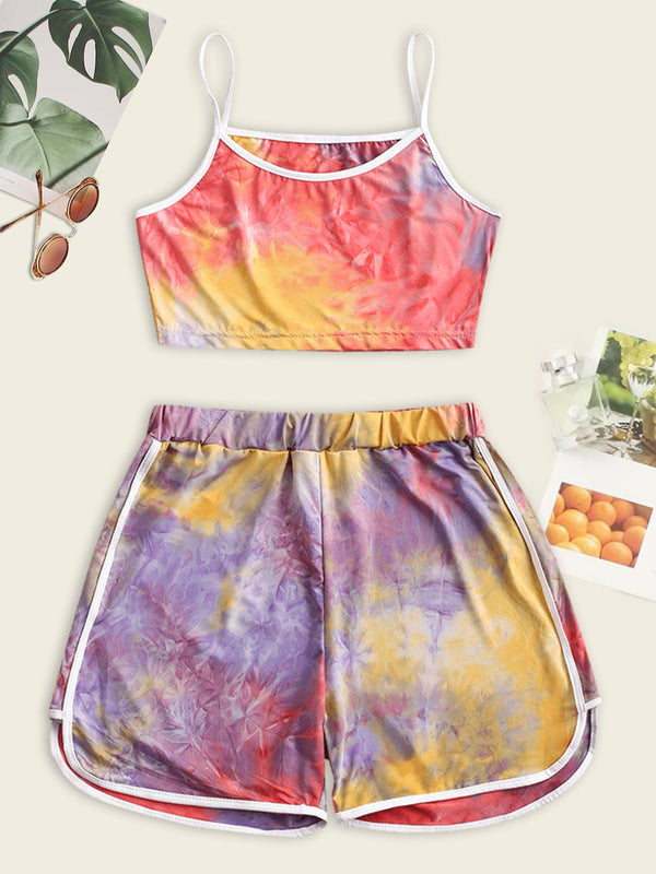 Contrast Trims Tie Dye Two Piece Set