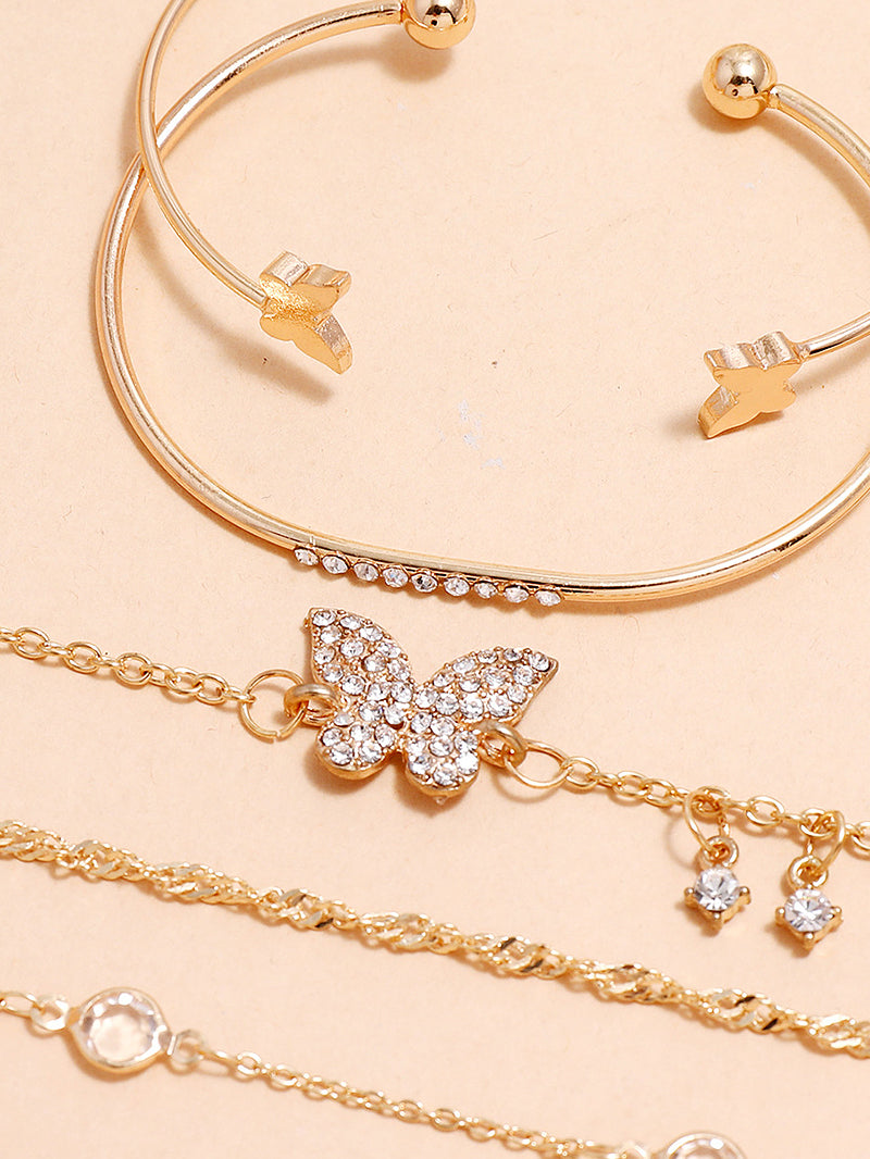 5pcs Rhinestone Butterfly Decor Bracelet