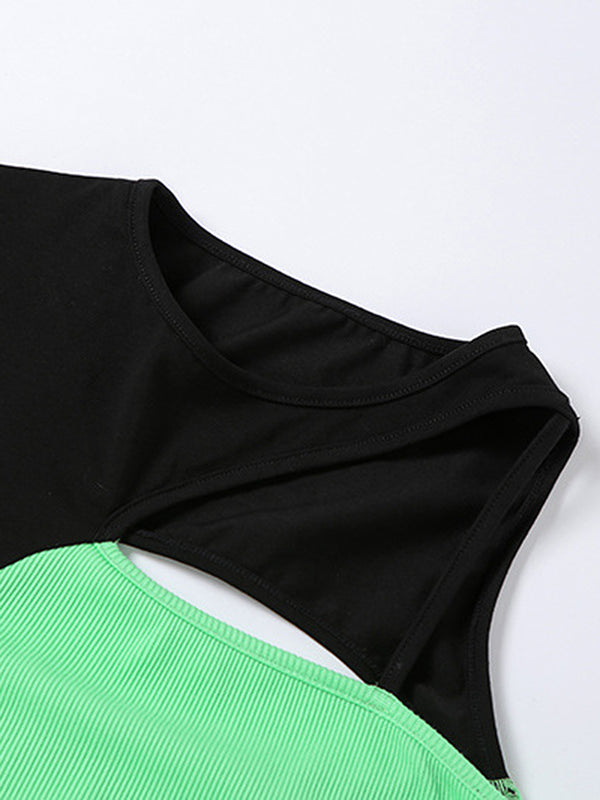 Neon Green Color Block Lettuce Trim Crop Top