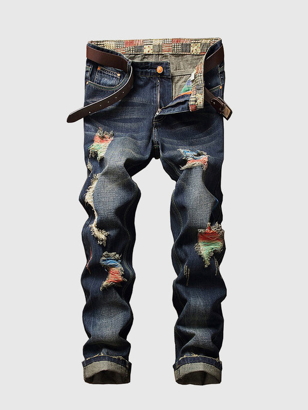 Men's Rainbow Contrast Ripped Jeans