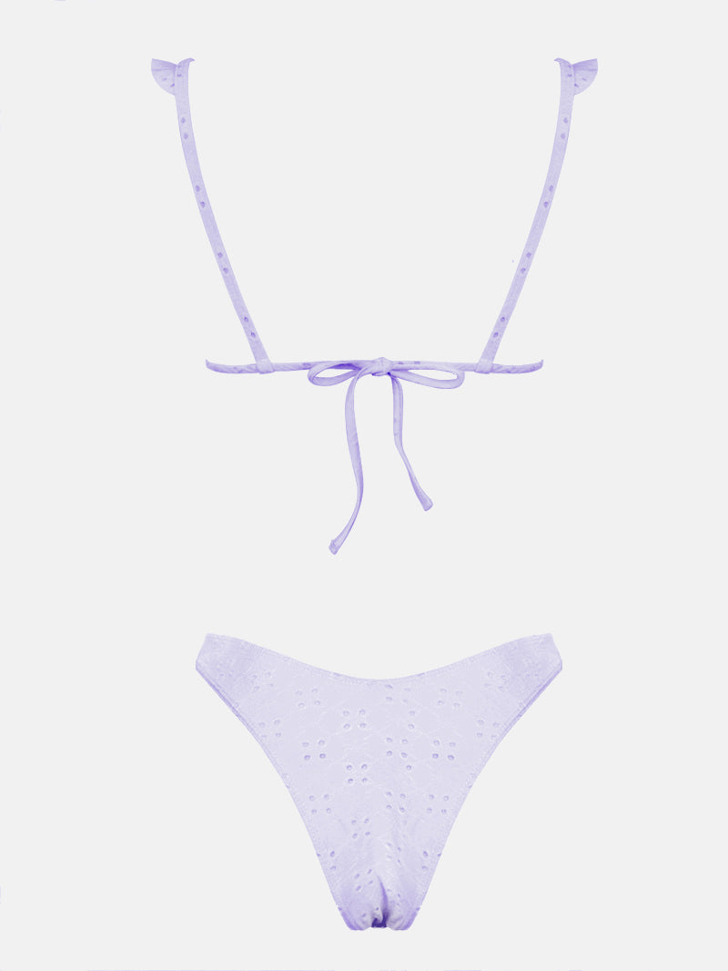 Eyelet Ruffle Trim High Cut Bikini Set