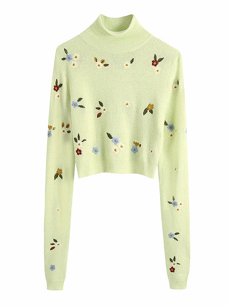 Flora Embroidery High Neck Sweater