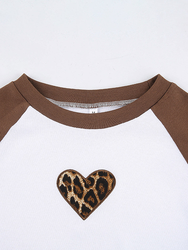 Color Block Leopard Heart Crop Tee