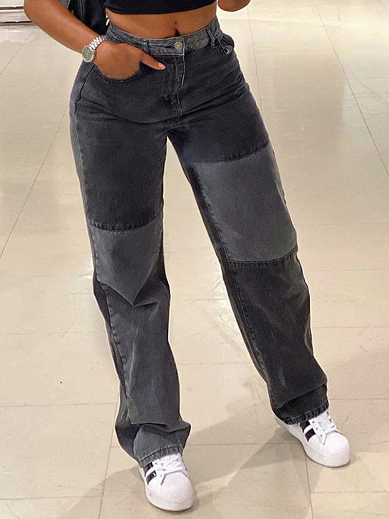 Grey And Black Contrast Stitching Street Style Jeans