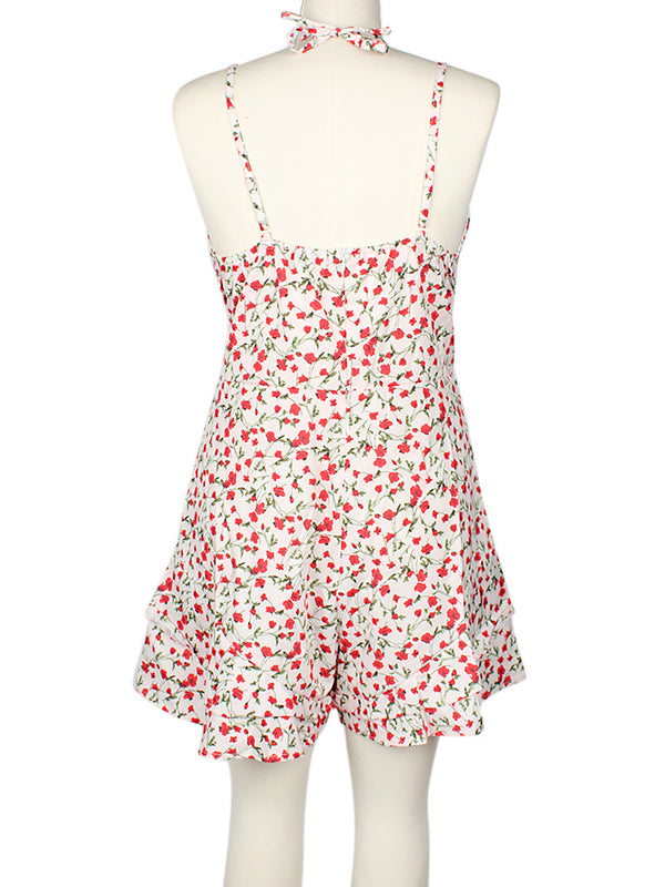 Floral Print Tie Up Backless Mini Cami Dress