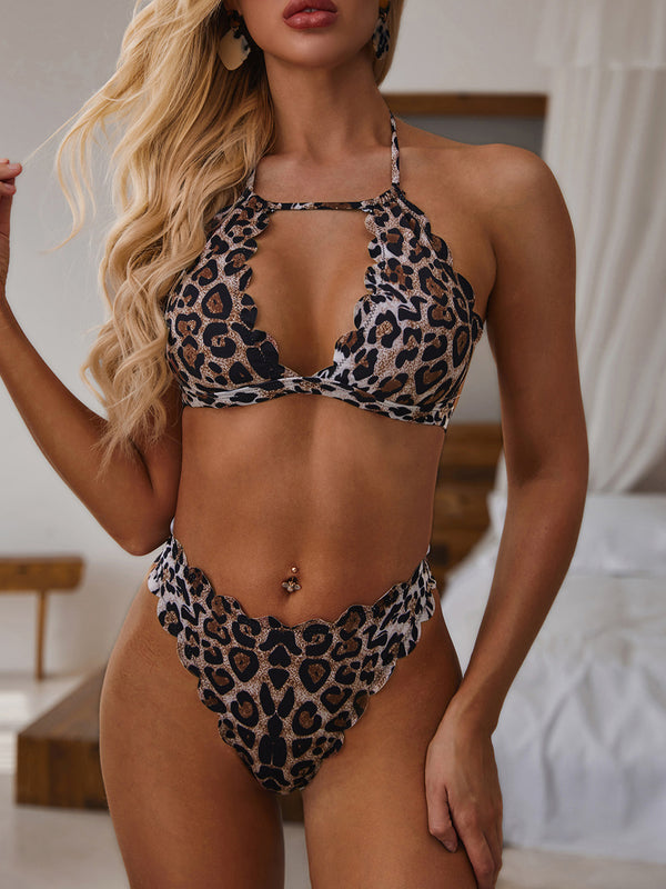 Halter Padded Tie-up Scalloped Leopard Cheetah Bikini Set
