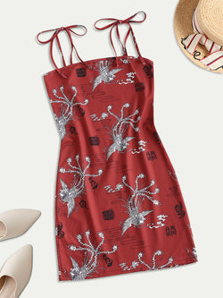 Tie Shoulder Oriental Mini Dress